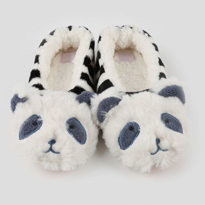 Fuzzy House Slippers Simple Trendy Black White Bear