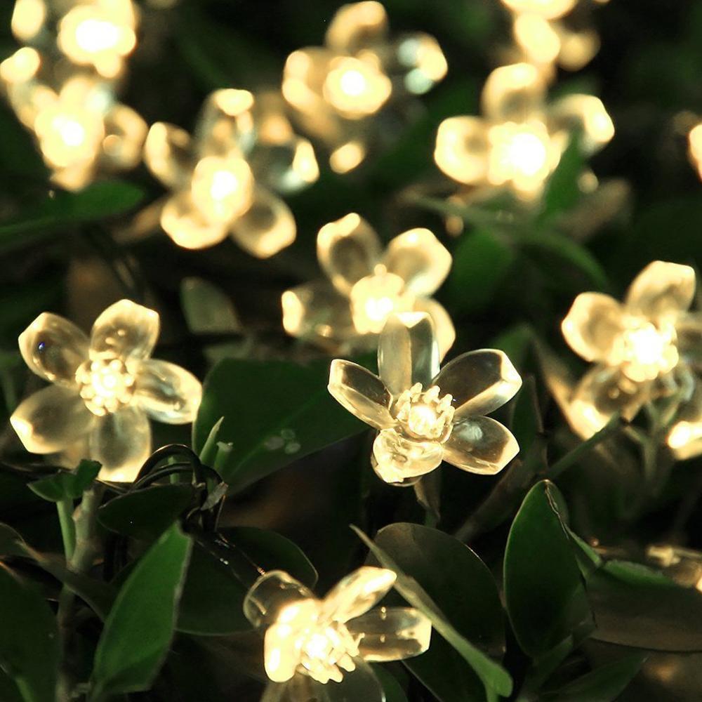 Amazon Solar Light String 50 LED Peach Blossom Spring Festival Decorative Light Outdoor Waterproof Christmas Day Color Lantern