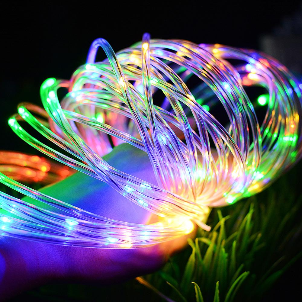 dedicated solar light string 100 light hollow tube wire copper line Spring Festival holiday Christmas decoration lights  string