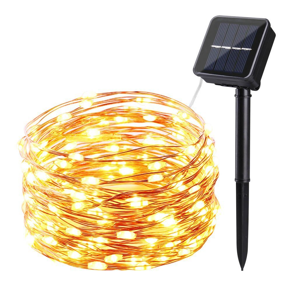 High quality solar copper wire string led courtyard waterproof light string outdoor decoration solar holiday lights string