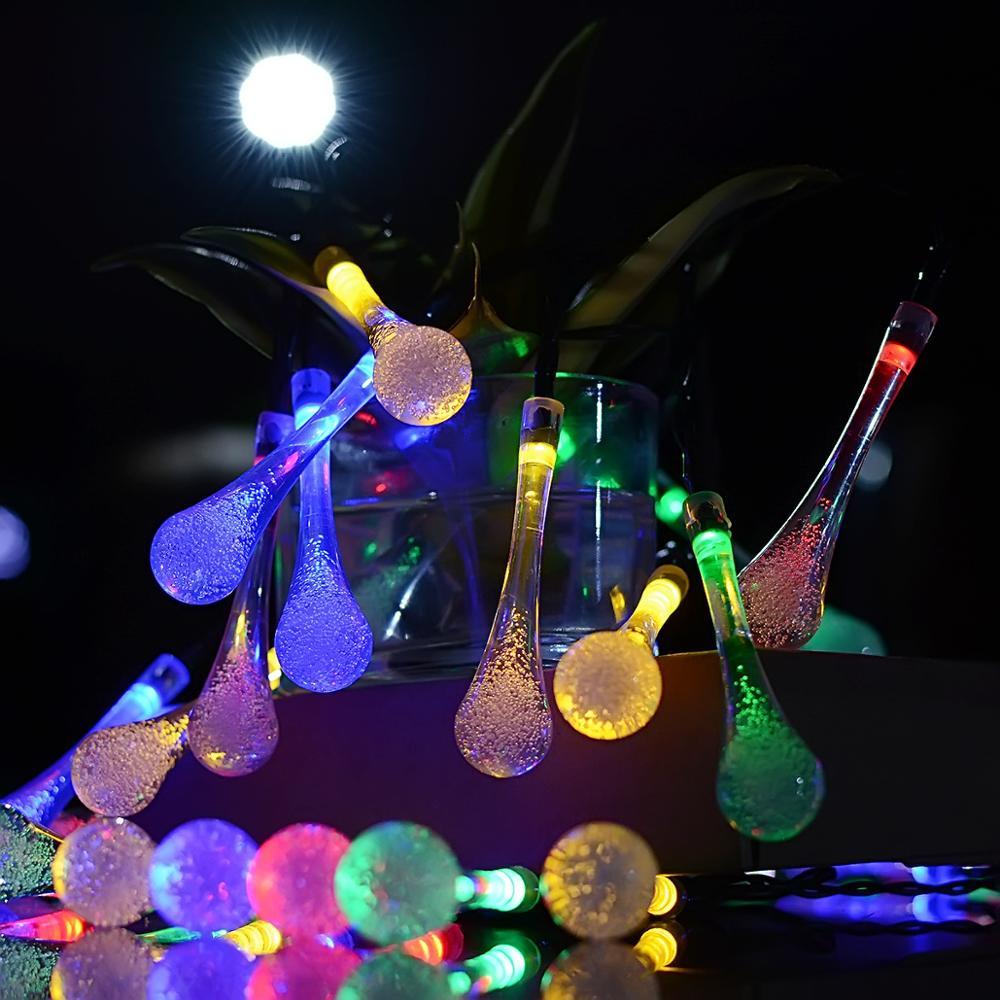 30 LED solar light strings water drop flashing lights string waterproof landscape decoration Christmas lights string