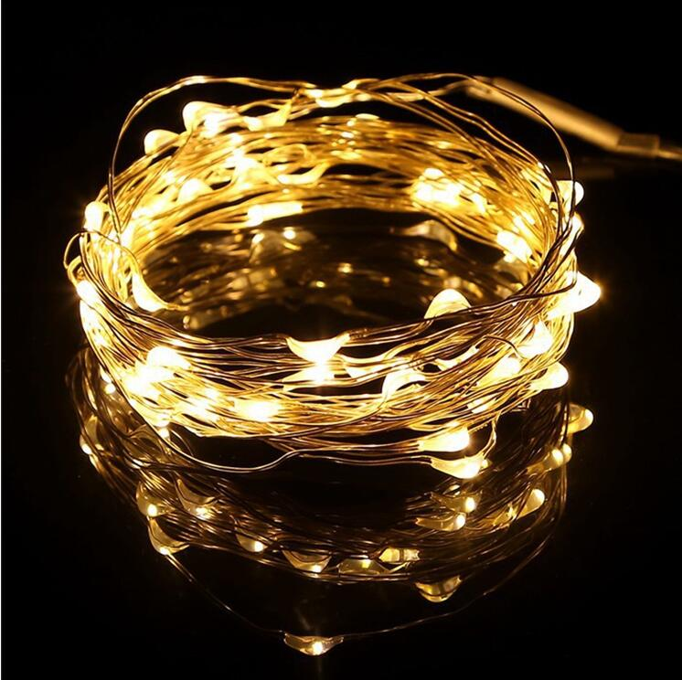2M Warm White Battery Operated led copper wire string lights for decoration on Christmas trees