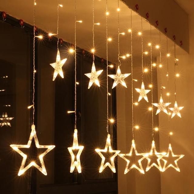 AC110V 220V Holiday Lighting LED Fairy Star Curtain String Decoration Christmas Wedding Light 2M