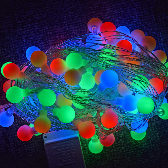 110V 220V 10m 100leds rgb color changing string ball led Holiday light