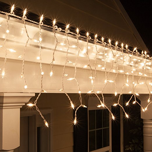 LED Icicle Lights Warm White Patio fairy String Lights Outdoor Christmas Lights (16.4ft with 216 leds)
