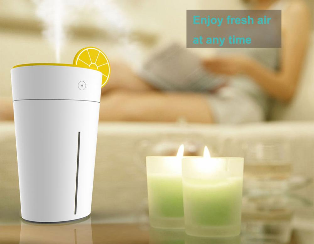 Mini 200ml USB Humidifier for Car, Bedroom, Study in Lemon Cup Shape Thanksgiving Table Decor