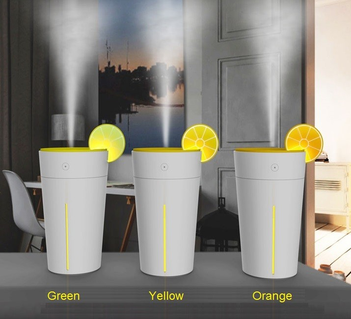 Green & Yellow & Orange USB Humidifier for Car,Lemon Cup Funny Cool Mist Humidifier with 7 color led light changing