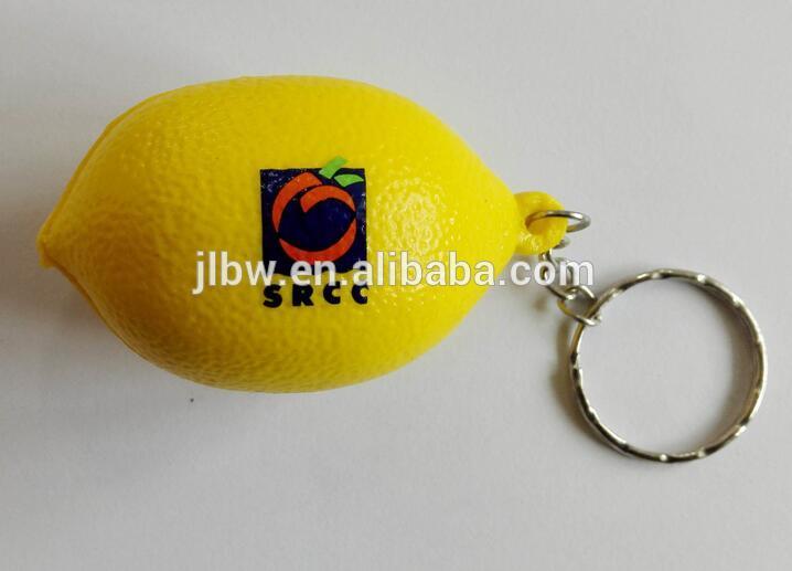 Lemon shape memory foam stress balls keychain keyfinder