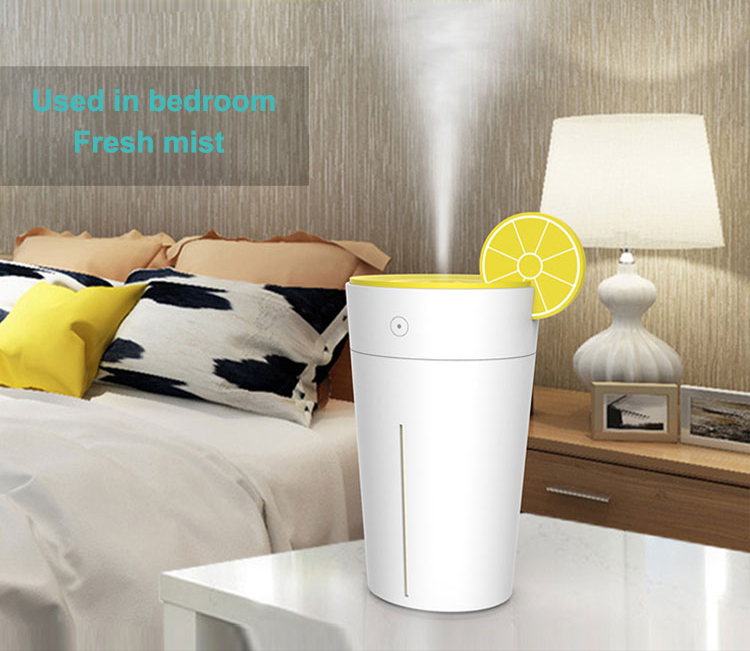 Portable 200ml USB Humidifier for Car Funny Lemon Cup Design with Soothing Color LED Light Multiple Color Options