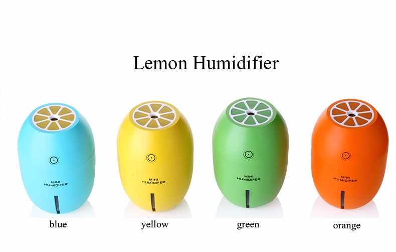 Mini Yellow Lemon design Car Humidifier with USB connect Recharge wireless Ultrasonic Aroma Humidifier