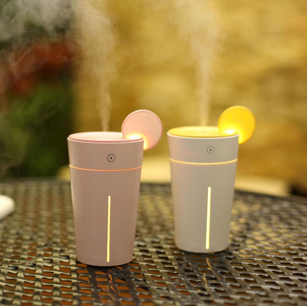 Amazon Hot Sales Cup Lemon Mini Humidifier Ultrasonic Aroma Led Table Lamp Humidifier for Office