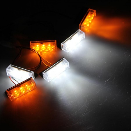 Set Yellow White 18 LED Strobe Emergency Flashing Warning Light for Car Truck Model 1
