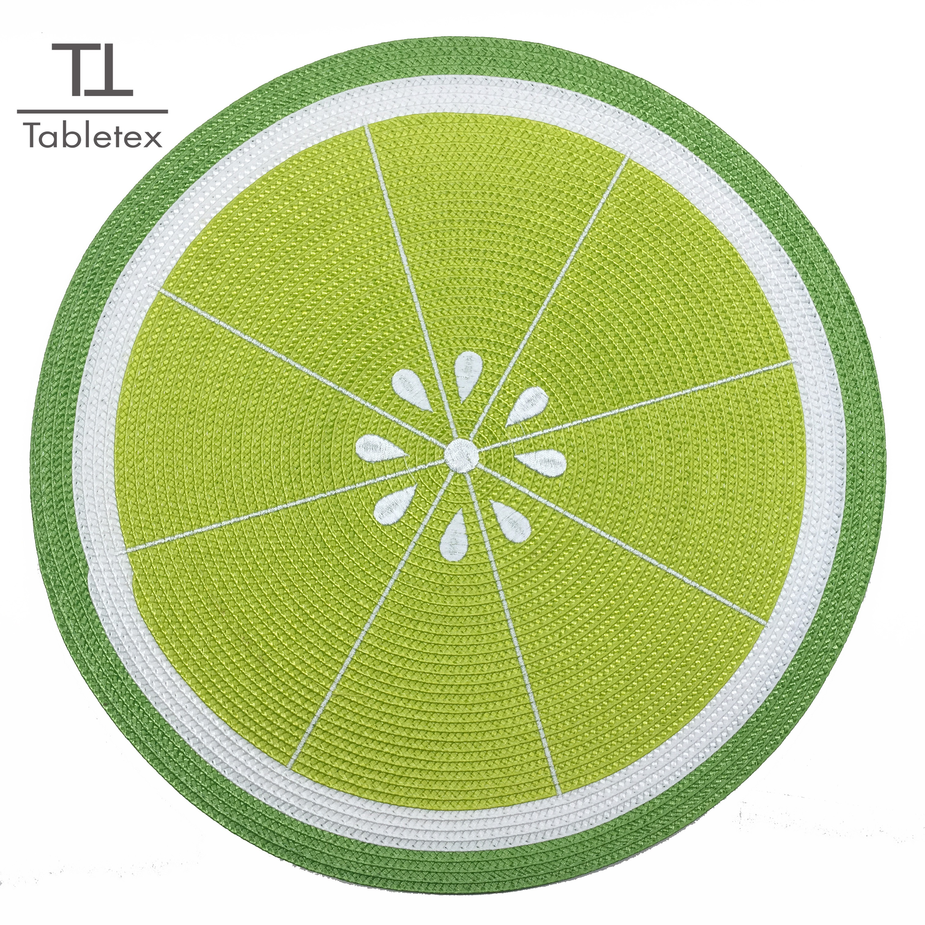 Tabletex lemon style embroidered  placemat polypropylene woven placemat watermelon mat