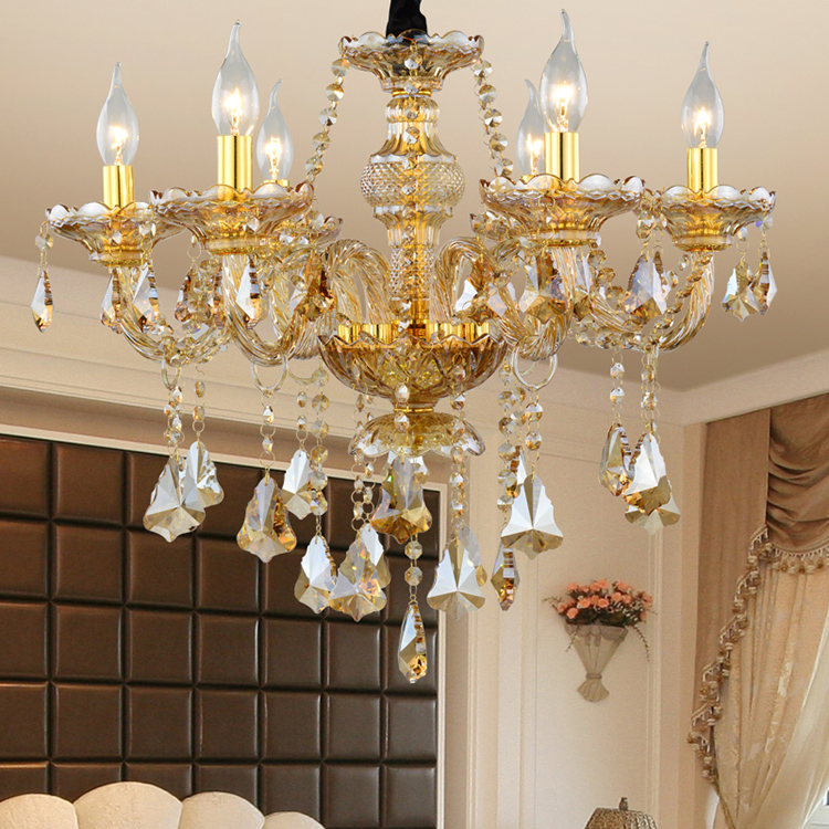 Bedroom Crystal Glass Material Crystal Chandelier With Leaves