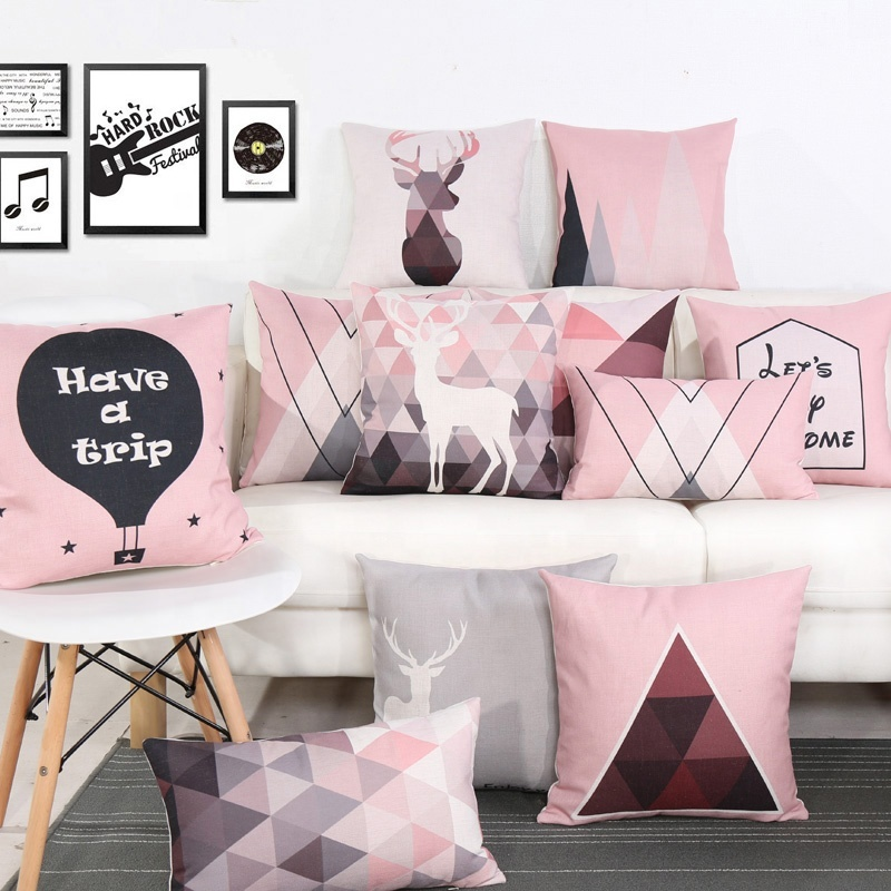 Pink Bright Decorative Sofa Pillow Nordic Modern Style